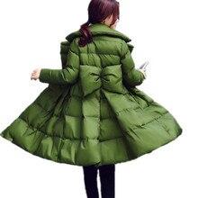 Moda Mulheres Roupas de Inverno Grosso Acolchoado de Alta Qualidade Doce Saia Mulheres Jaqueta Botão Coberto Casaco Parka De Algodão Quente TT3218