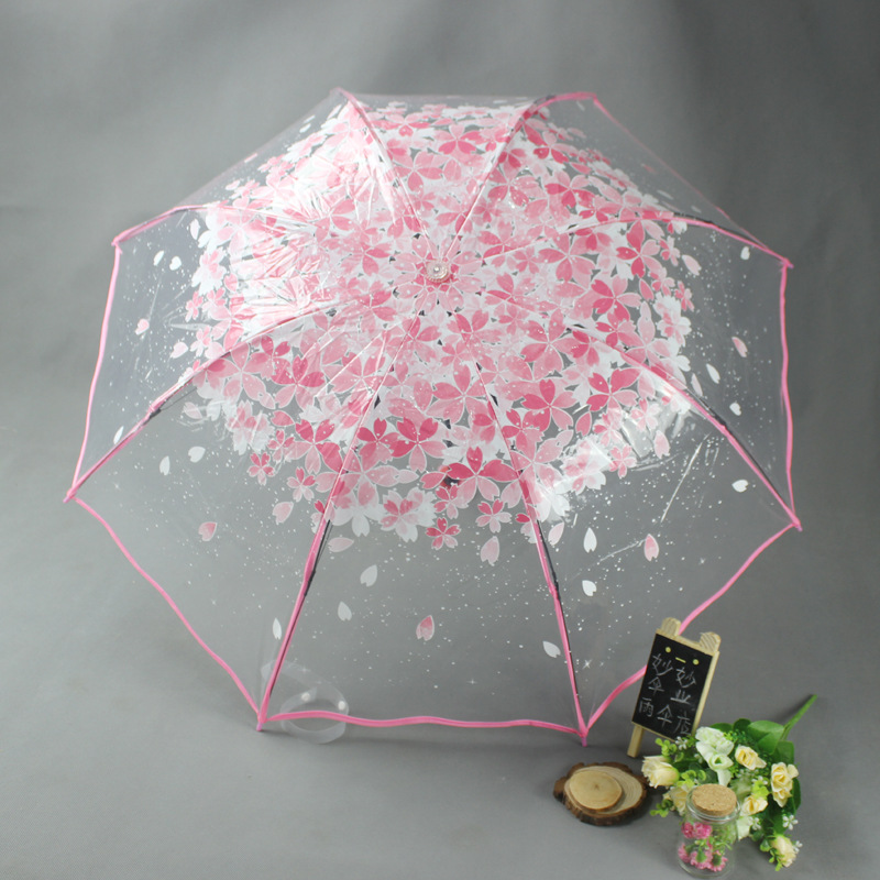 Fashion Transparent Clear Umbrella Rainbow Fold Apollo Princess Women Rain Umbrella Sakura Long Handle Umbrellas Let Our Commodities Go To The World Home