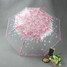 Paraguas de princesa Apollo, paraguas de lluvia para mujer con 3 pliegues para niños, sombrilla Rosa Sakura, sombrilla transparente pequeña