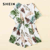 SHEIN Boho Tropical Print Wrap V-Neck Summer Romper Women Casual Short Sleeve Mid Waist Wide Leg Shorts Romper Beach Playsuit