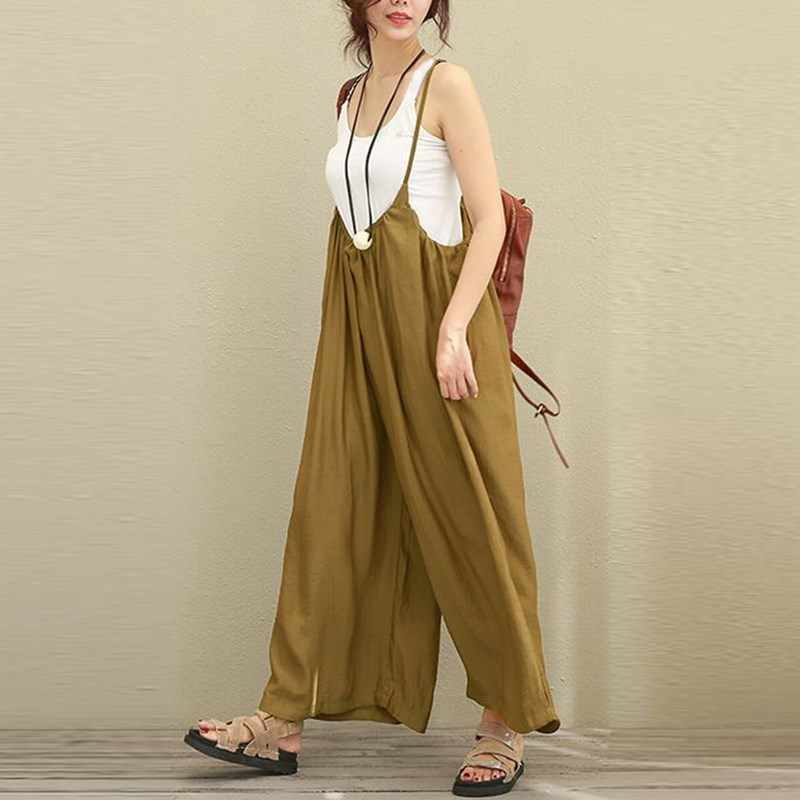 ce85658842 ... 2018 New ZANZEA Women Overalls Rompers Plus Size S-5XL Sleeveless  Dungarees Long Trousers Wide ...