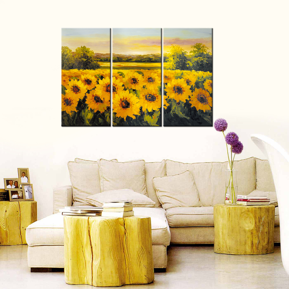 Triptych Contemporary Art Canvas Abstract Oil Painting Sunflower HD ...