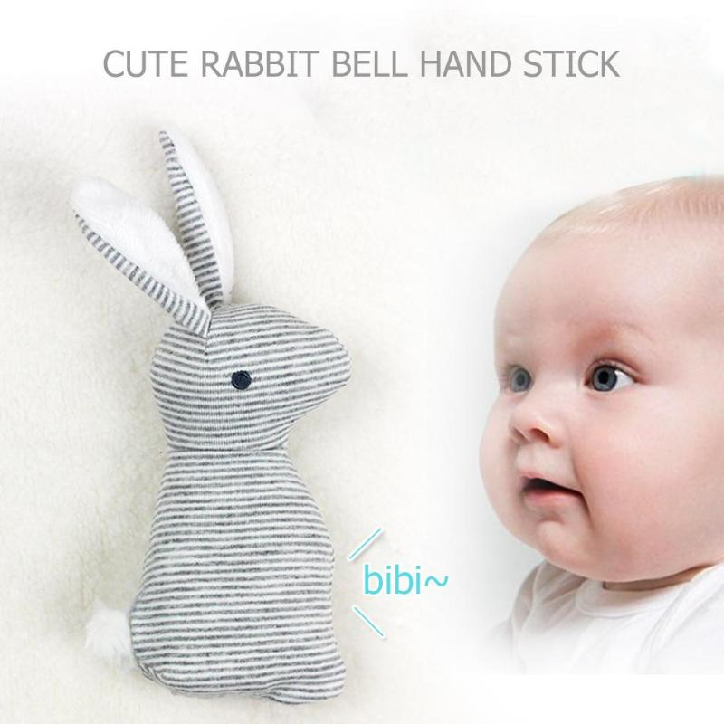 Newborn Baby Cute Plush Long Ear Rabbit Rattle Toys Baby Hand Bells Stick Toys With BB Sound