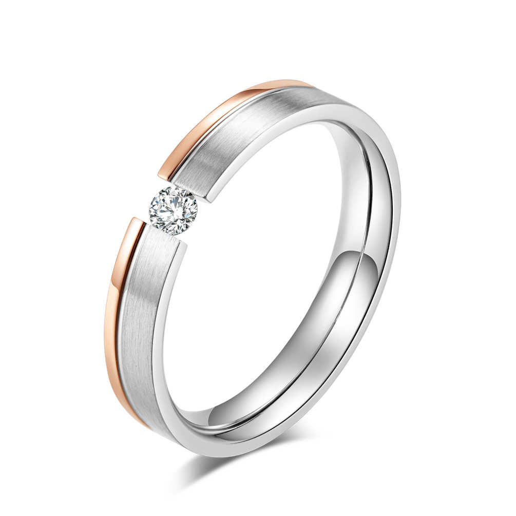 JHSL 4 mm Small Stainless Steel Women Rhinestone Wedding Rings Rose Gold Color US size 5 6 7 8 9