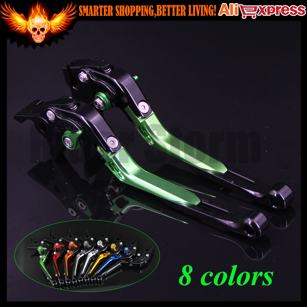 ФОТО Green+Black 8 Colors CNC Adjustable Folding Extendable Motorcycle Brake Clutch Levers For Kawasaki VERSYS 1000 2012 2013 2014