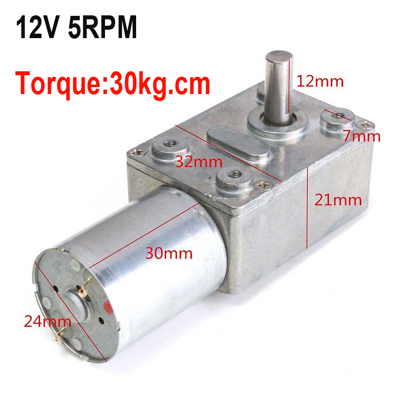12V 5Rpm Reversible High Torque 30kg.cm Turbo Worm Geared Motor DC Motor JGY370 New Arrival