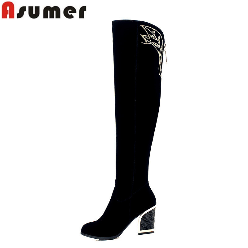 Asumer 2018 new arrive high quality nubuck leather over the knee boots autumn winter round toe high heel platform women boots asumer autumn winter high quality keep warm nubuck leather zip over the knee boots elegant platform high heel women boots