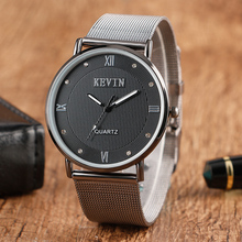 KEVIN Fashion Women Ultra thin Casual Dress Stainless Steel Mesh Band Strap Men Ladies Watch Quartz Couple Student Wristwatches