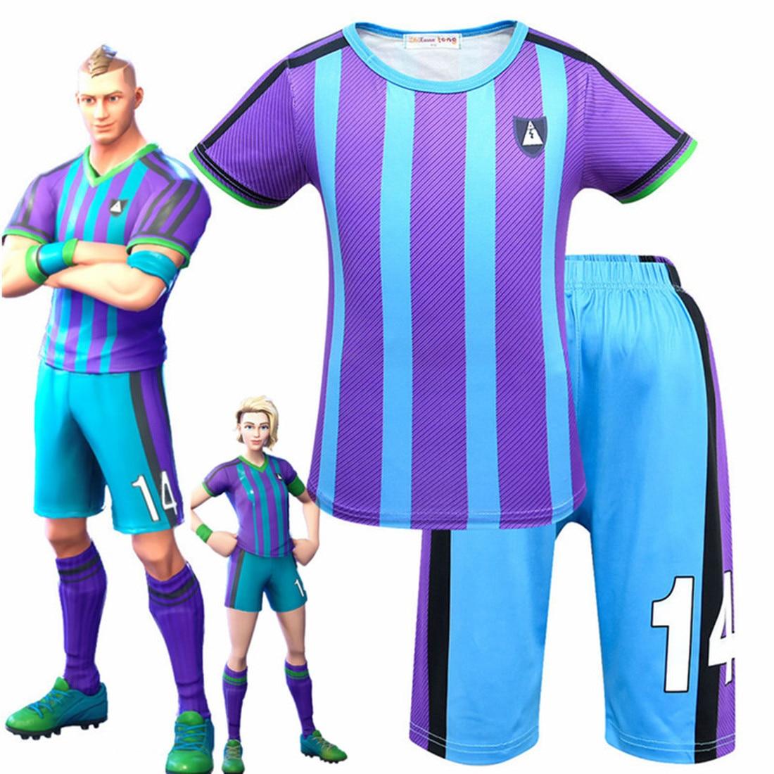 Fortnited enfant enfants menace aérienne garçons personnage bleu Football Cosplay vêtements carnaval Costumes Ninja fête drôle vêtements