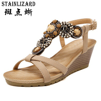 2017 Summer Beach Sandales Bohême Wedge Gladiateur Casual Tongs Sexy De Mode Filles Chaussures Femmes Plate-Forme Sandales ABT536