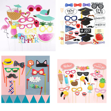 Summer Party Photo Booth Props Hawaiian Wedding Decoration Photobooth Bridal Shower Event Supplies