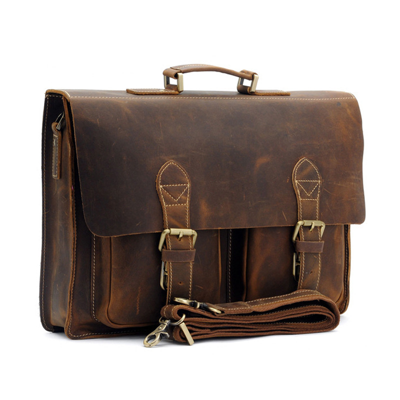 Top leather mens handbags retro crazy horse leather briefcases casual bags British foreign trade leather mens 1061Top leather mens handbags retro crazy horse leather briefcases casual bags British foreign trade leather mens 1061