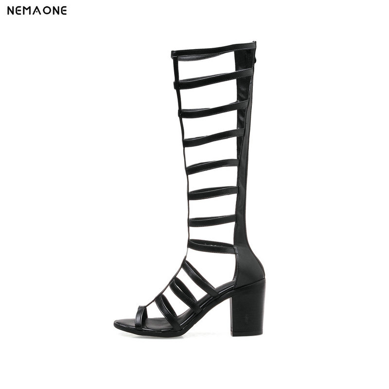 NEMAONE women summer boots thick high heels knee high boots rome style women shoes large size 9 10 11 12