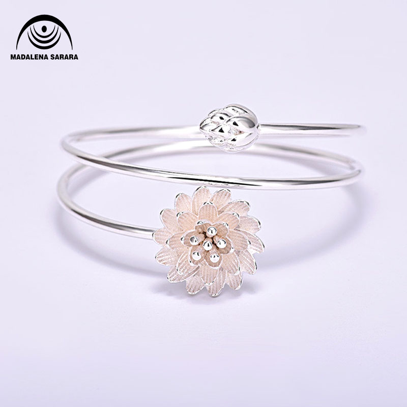 MADALENA SARARA sterling silver 925 Pink Lotus flower fashion pop girl bracelet Korean Style Multi Rows in Bangles from Jewelry Accessories