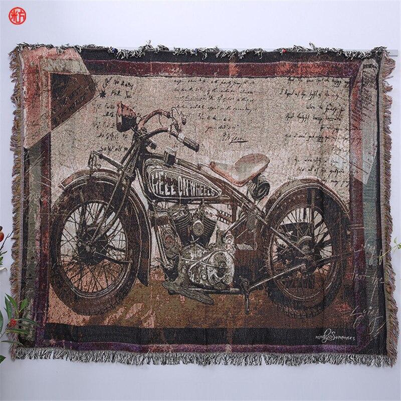Décor à la maison rétro moto tapisserie coton polyester fil couverture décorative mur tapis suspendu canapé plancher tapis couverture cadeau