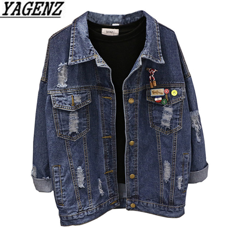 2018 New Spring Vintage Women's Jeans   Jackets   Casual Tops Single-breasted Loose BF Student Denim Outerwear Female   Basic   Coats