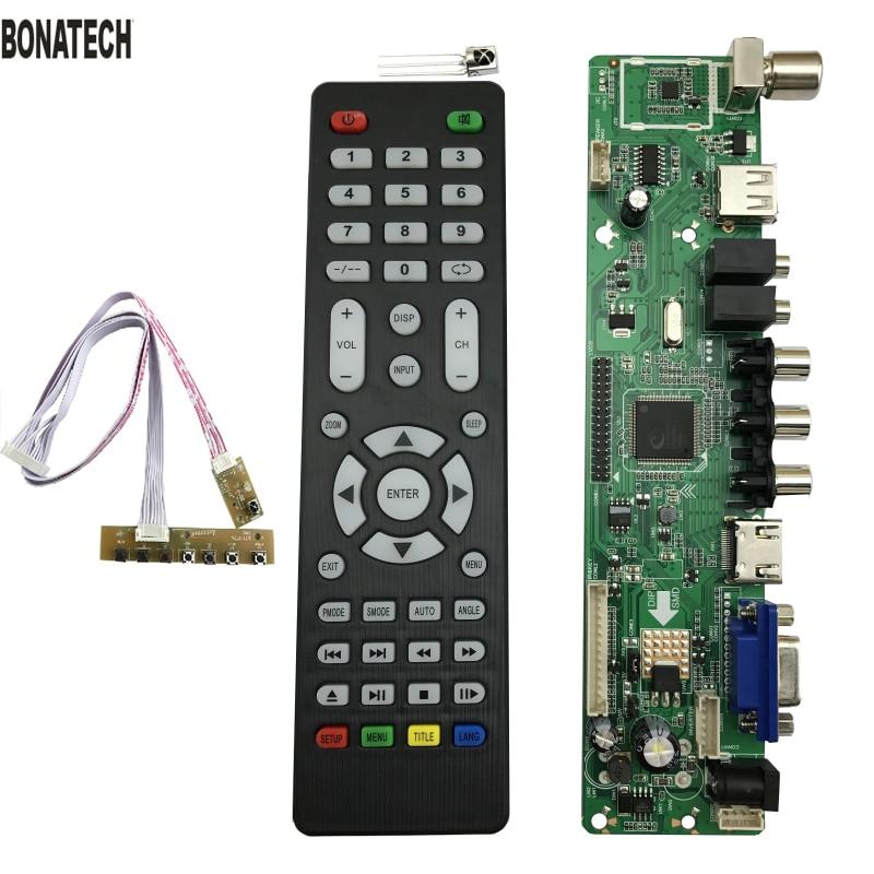 Frete Grátis V56 Universal Controlador De Tv Lcd Placa Motorista Pc/vga/hdmi/usb Interface + 7 Placa Chave
