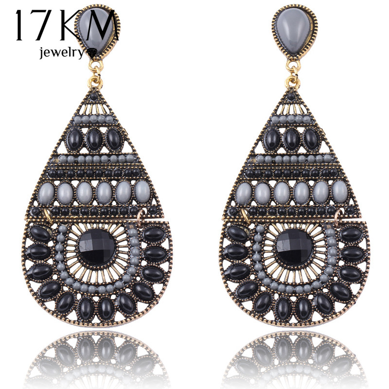 17km 2016 New Fashion Earrings Vintage Ethnic Style Colorful Bohemian Beads Stud Earrings