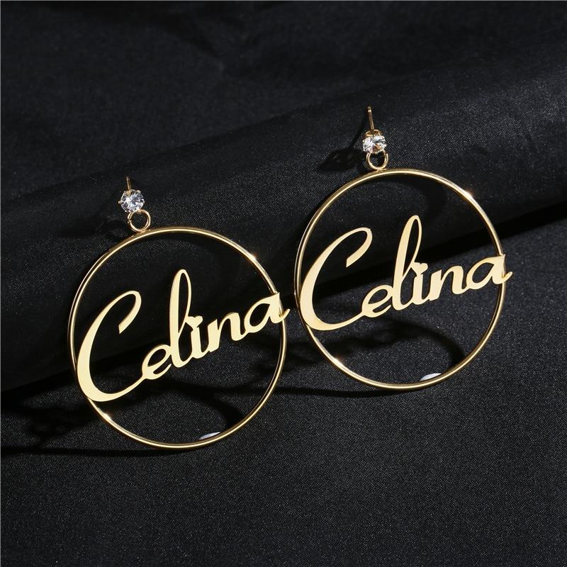 Zircão de aço inoxidável nome personalizado brincos personalizado grande placa de identificação jóias artesanais para as meninas círculo redondo oorbellen
