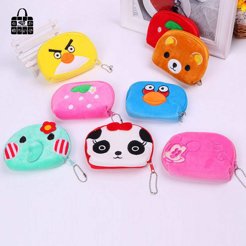 ROSEDIARY New cartoon flannelette zipper zero wallet children girl boy purse, lady coin bags Pouch kids gift Free shipping 1 pcs rosediary cartoon girl pu leather zero wallet children girl boy zipper bag women pocket pouch bag keys coin bag kids gifts
