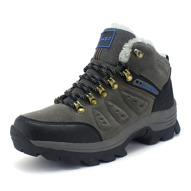 2015 New Arrive Winter Brand Outdoor High quality Cotton-Padded Genuine Leather With Wool Mens Hiking Shoes Waterproof Warm Shoe