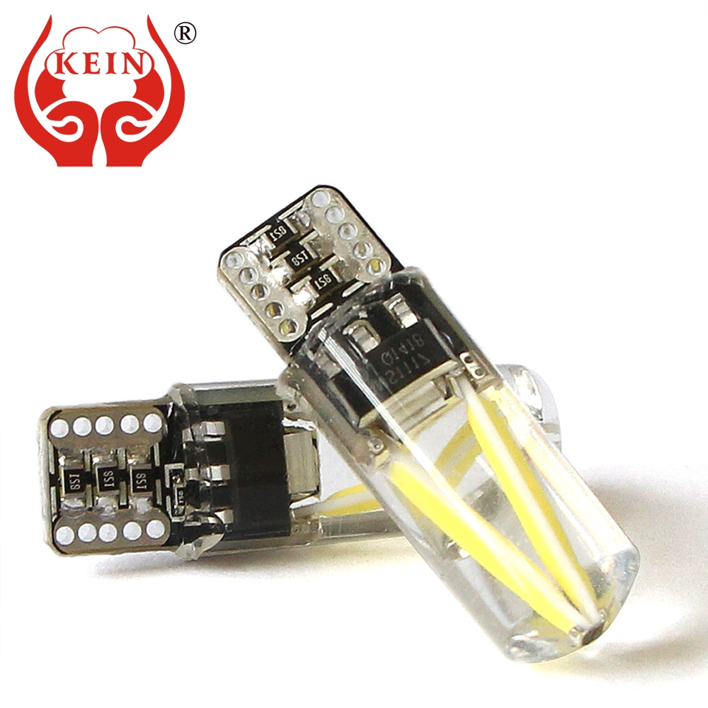 KEIN 2PCS Canbus T10 led w5w Bulb 194 501 silicone cob car Parking Tail Light Interior Reading Panel Dome Signal Lamp Vehicle car led 1pcs t10 194 w5w dc 12v canbus 6smd 5050 silicone shell led lights bulb no error led parking fog light auto car styling