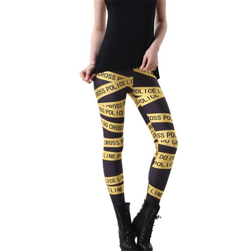 CUHAKCI Work Out Plus Size Legging Print Leggings Women Police Line Leggings Punk Rock Trousers Letters Cross Leggins