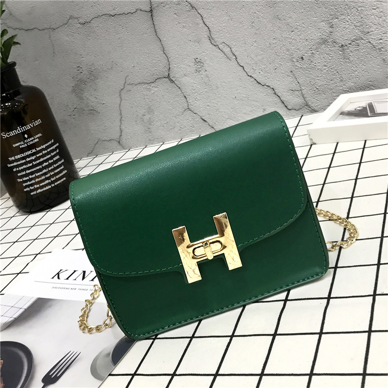2018 new autumn and winter ladies shoulder bag chain tofu bag lock PU ladies handbag solid color buckle design in Shoulder Bags from Luggage Bags