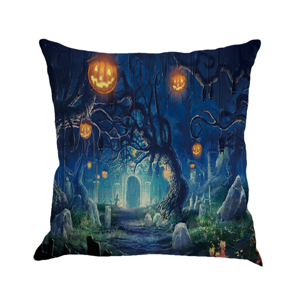 Table & Sofa Linens Cushion Cover 2017 Hot Happy Halloween Pillow Cases Linen Classic Gothic Dark Style Sofa Cushion Cover Comfortable Linen Home Decor F8253 2