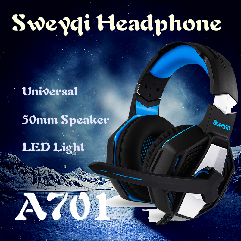 Sweyqi A701 A702 PC/PS4 Gaming Headset Wired Soft Earpads Stereo Headphones with Microphone LED lights Noise Cancelling image