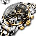 Мужские автоматические механические часы LIGE  спортивные водонепроницаемые деловые часы из стали