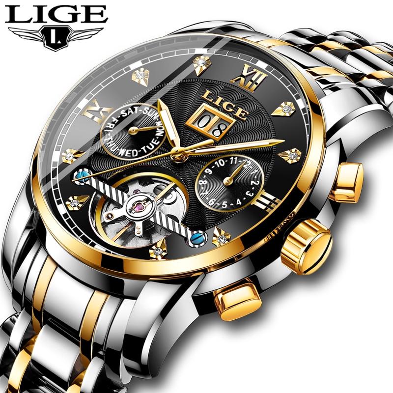 LIGE メンズウォッチトップブランドの高級自動機械式時計男性フル鉄鋼事業防水スポーツ腕時計レロジオ Masculino  グループ上の 腕時計 からの 機械式時計 の中 1