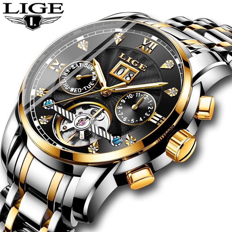 Relojes para hombre LIGE, relojes mecánicos automáticos de lujo de marca superior, relojes deportivos impermeables de acero para hombres-in Relojes mecánicos from Relojes de pulsera    1