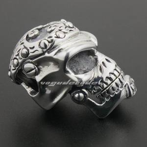 Image 4 - Solid 925 Sterling Silver Skull Mens Biker Pendant 8C011 With Matching Stainless Steel Necklace