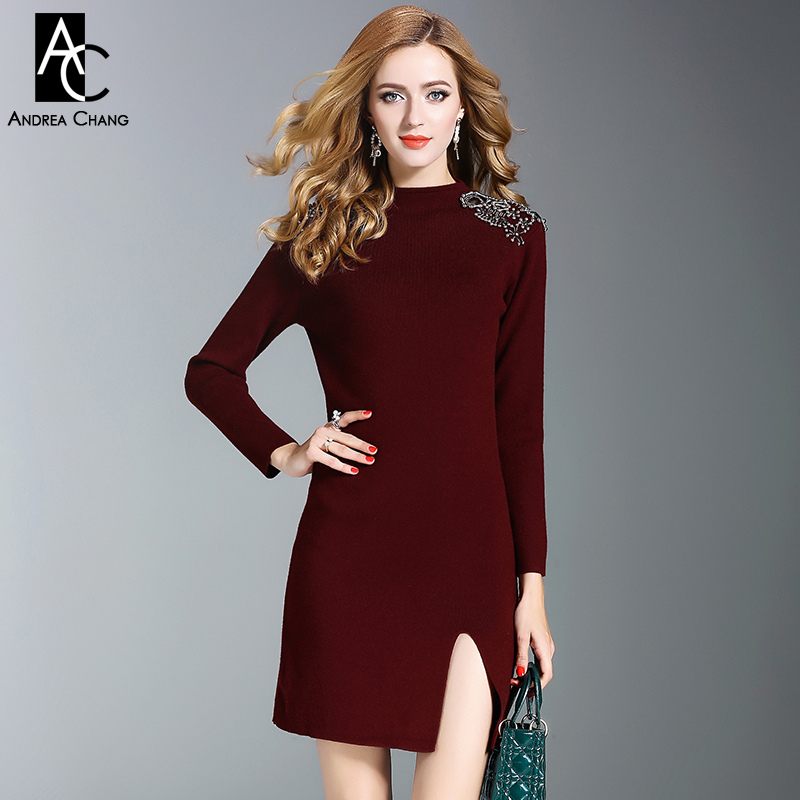 autumn winter woman dress beading shoulder black wine red knitted dress side split bottom fashion sexy party club mini dress spring autumn woman dress faux pearl rhinestone beading sleeve cuff knitted dress fashion vintage elastic black red party dress