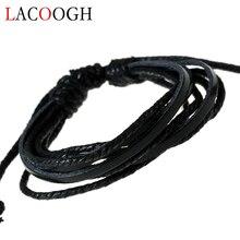 lacoogh New Fashion Multiple Layers Ethnic Retro Wrap Leather Bracelets for Men Women PU Beads Punk Charms Bracelet Bangles