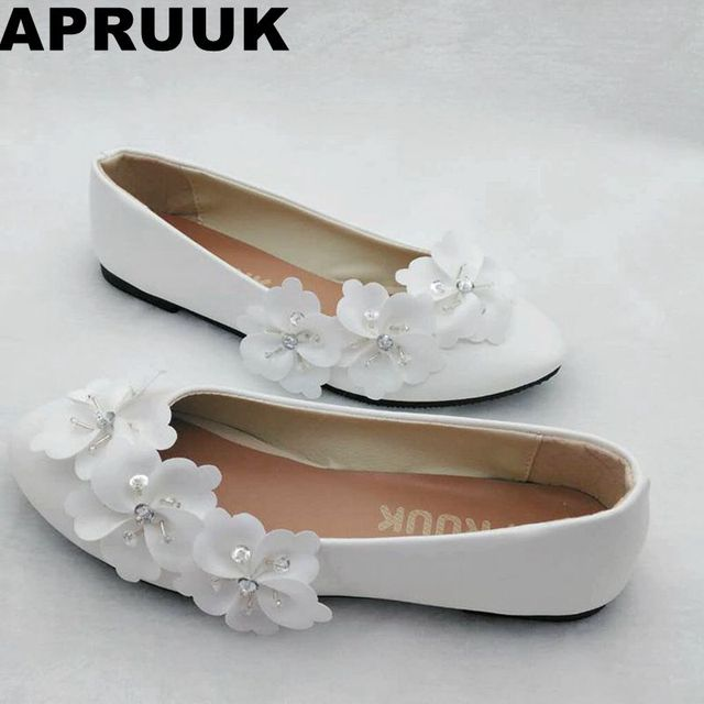 White flower wedding flats shoes womens handmade sweet ballet flats white flower wedding flats shoes womens handmade sweet ballet flats ladies girl casual flat heel shoes junglespirit Image collections