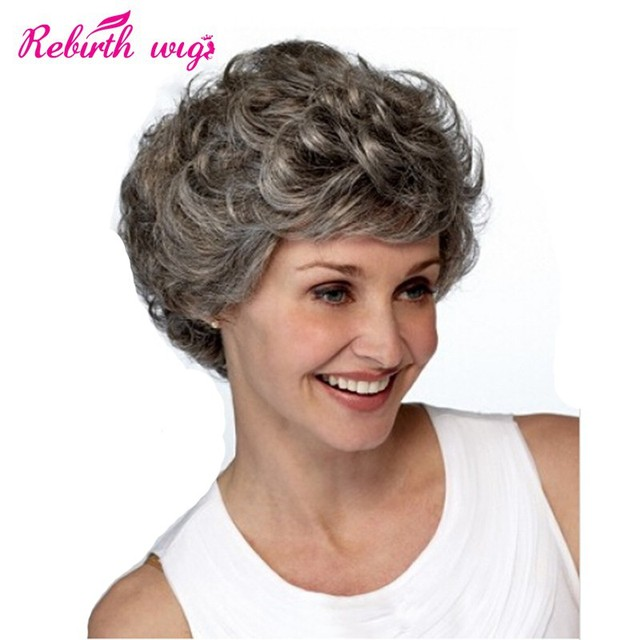 Short Hair Wigs gray wigs fo old women curly heat resistant Synthetic wigs  with bangs elder lady party Cheap grey cosplay wigs bcb8d5c645