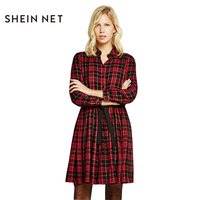 Sheinnet 2017 Sexy Plaid Print Women Dress Color Block Turn-down Collar Long Sleeve Vestidos Waist Tie Casual Mini Shirt Dress