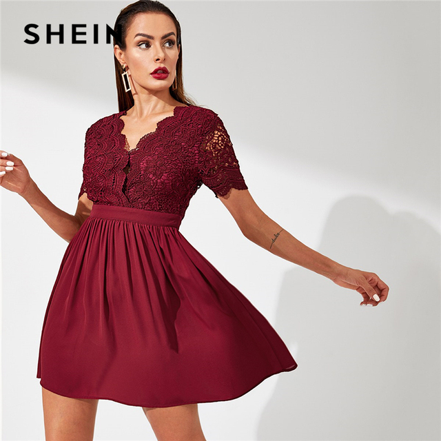 dcdb5251be SHEIN Burgundy Contrast LaceBodice Fit and Flare Dress Elegant Fit And  Flare V Neck Solid Dress Women Autumn Modern Lady Dresses