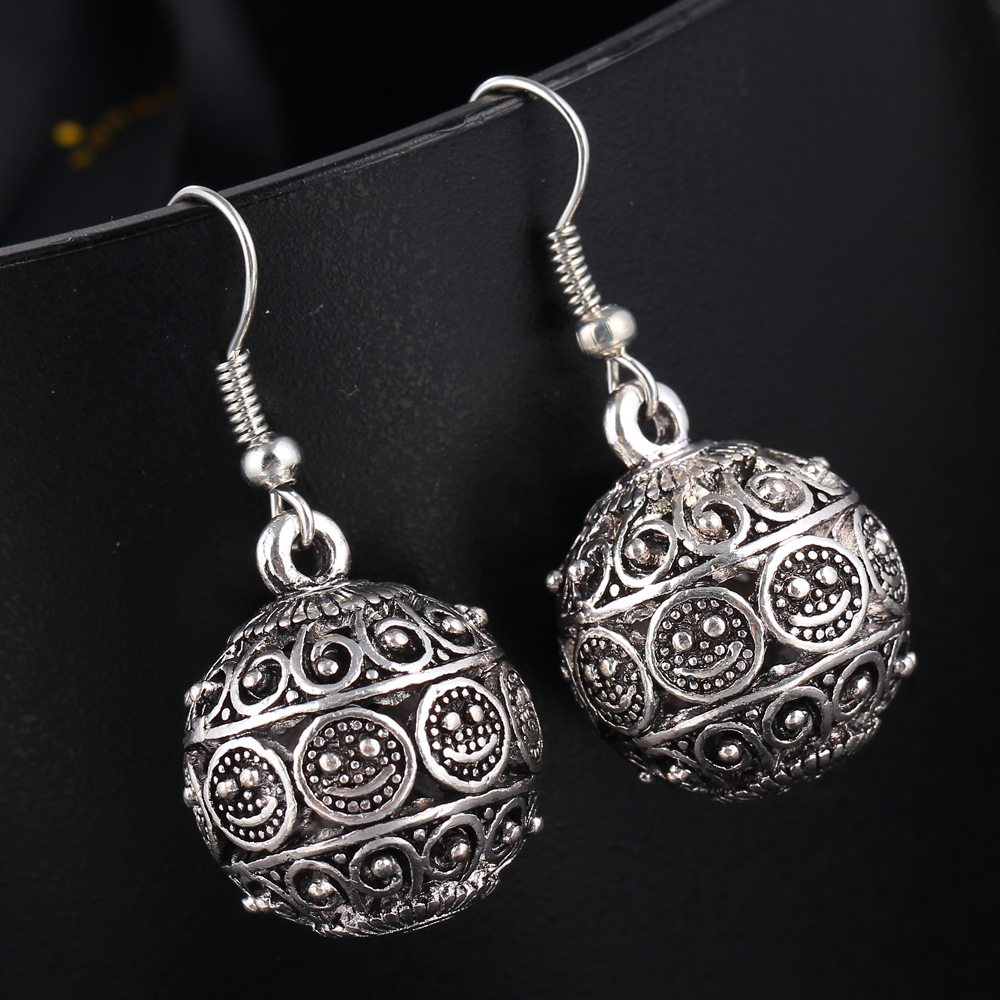 If me new ball antique silver color vintage earrings for Women s minimalist jewelry