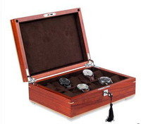 luxury 10 grid original red sandal wood watch jewelry storage box wooden watches case boxes organizer nice gift MSBH007d
