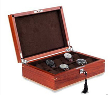 Роскошные 10-grid оригинальный красный сандал смотреть ящик для хранения ювелирных изделий деревянные часы случае коробки организатор хороший подарок MSBH007d