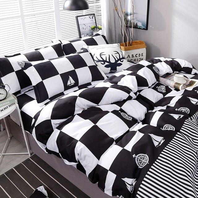 Chất Lượng cao Màu Đen Trắng Kẻ Sọc Ngắn Gọn Mô Hình Bộ Đồ Giường Đặt Giường Lót Duvet Cover Tấm Ga Trải Giường Gối Che Bộ 4 cái/bộ