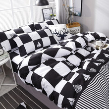 High Quality Black White Plaid Brief Pattern Bedding Set Bed Linings Duvet Cover Bed Sheet Pillowcases Cover Set 4pcs/set(China)