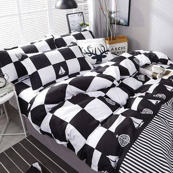 High Quality Black White Plaid Bedding Set Bedding Sets