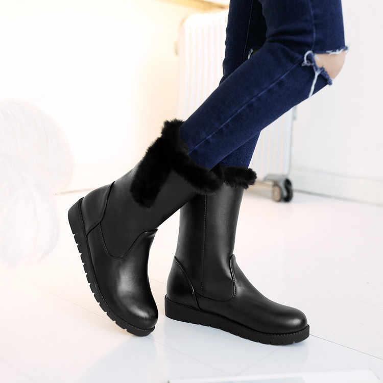 Botas de invierno Botas Mujer cálido en invierno Botas de nieve mujeres Sexy Mujer Zapatos tobillo vaquero Chelsea militar tacones bajos tácticos h11