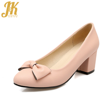 J&K 2017 Big Size 32-43 Brand Ladies Shoes Women Butterfly Knot Solid Pumps Shoes Thick Heels Shallow Boat Shoes Spring Pumps