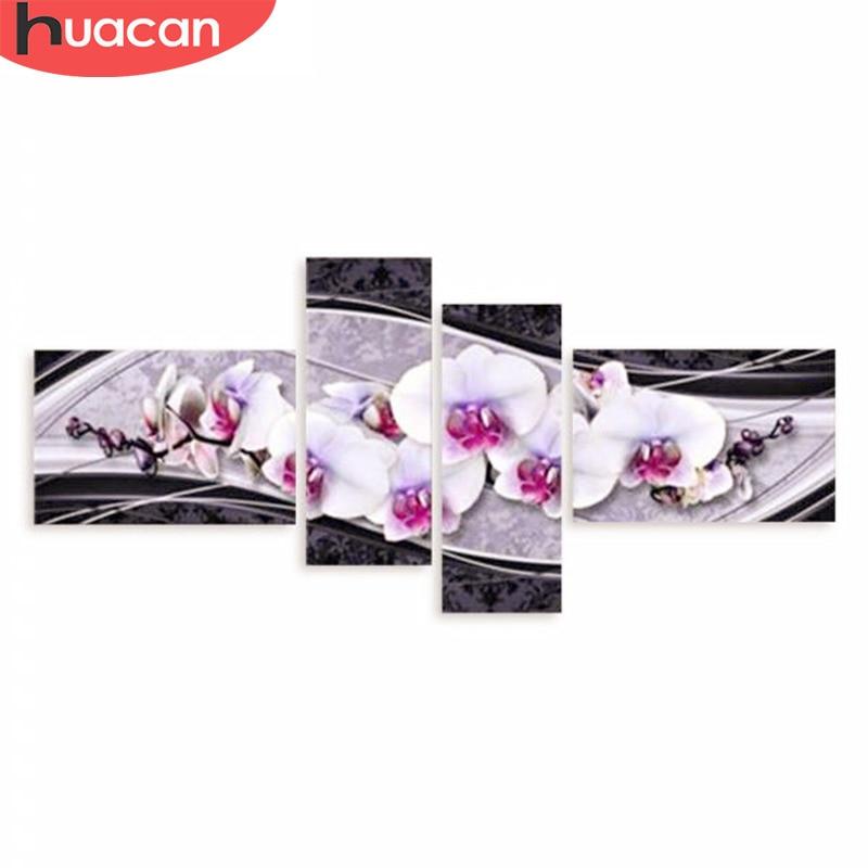 Купить на aliexpress Хуакан своими руками 5D алмазная вышивка крестиком Алмазная картина декоративное украшение для дома, подарок модный цветок 4 шт рукоделие