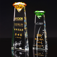 Customized Colorful Diamond Crystal Trophy Glass Medals Sports Events Awards Champions Cup